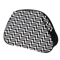 White Line Wave Black Pattern Full Print Accessory Pouch (small)