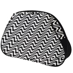 White Line Wave Black Pattern Full Print Accessory Pouch (big)
