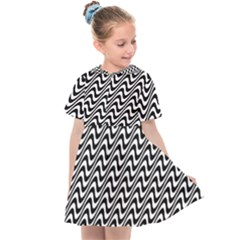 White Line Wave Black Pattern Kids  Sailor Dress by Pakrebo