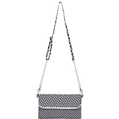 White Line Wave Black Pattern Mini Crossbody Handbag
