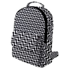 White Line Wave Black Pattern Flap Pocket Backpack (small)