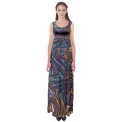 Fractal Art Artwork Globular Empire Waist Maxi Dress