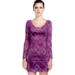 Purple Pattern Background Long Sleeve Bodycon Dress