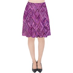 Purple Pattern Background Velvet High Waist Skirt