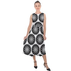 Pattern Swirl Spiral Repeating Midi Tie Back Chiffon Dress