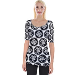 Pattern Swirl Spiral Repeating Wide Neckline Tee by Pakrebo