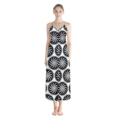 Pattern Swirl Spiral Repeating Button Up Chiffon Maxi Dress by Pakrebo
