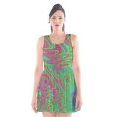 Fractal Art Neon Green Pink Scoop Neck Skater Dress