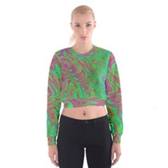 Fractal Art Neon Green Pink Cropped Sweatshirt