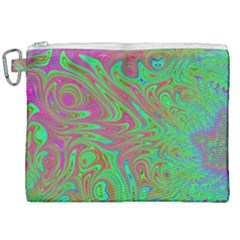 Fractal Art Neon Green Pink Canvas Cosmetic Bag (xxl)