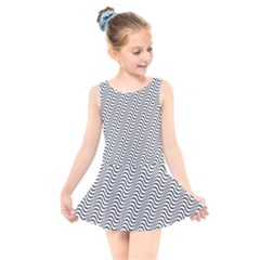 Wave Wave Lines Diagonal Seamless Kids  Skater Dress Swimsuit