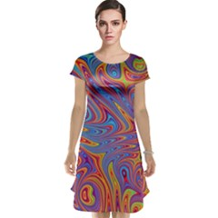 Fractal Psychedelic Fantasy Surreal Cap Sleeve Nightdress