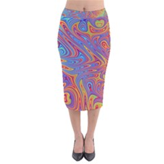 Fractal Psychedelic Fantasy Surreal Velvet Midi Pencil Skirt
