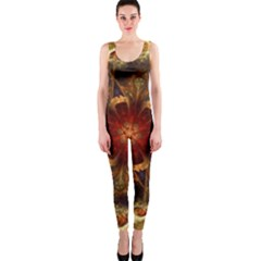 Dawn Day Fractal Sunny Gold Red One Piece Catsuit