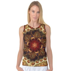 Dawn Day Fractal Sunny Gold Red Women s Basketball Tank Top