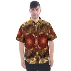 Dawn Day Fractal Sunny Gold Red Men s Short Sleeve Shirt