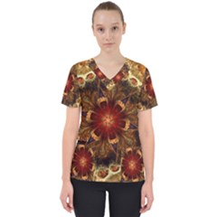 Dawn Day Fractal Sunny Gold Red Women s V Neck Scrub Top