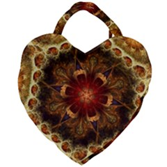Dawn Day Fractal Sunny Gold Red Giant Heart Shaped Tote