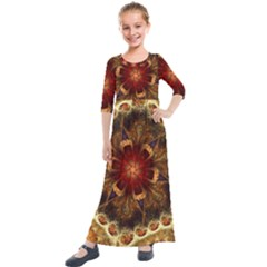 Dawn Day Fractal Sunny Gold Red Kids  Quarter Sleeve Maxi Dress