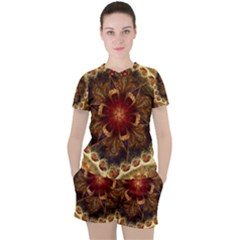Dawn Day Fractal Sunny Gold Red Women s Tee And Shorts Set by Pakrebo