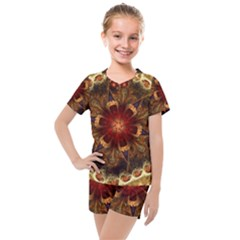 Dawn Day Fractal Sunny Gold Red Kids  Mesh Tee And Shorts Set