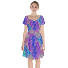 Fractal Artwork Art Design Short Sleeve Bardot Dress
