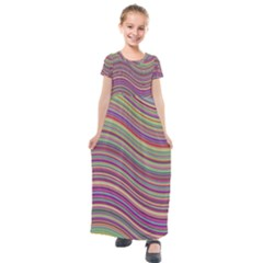 Wave Abstract Happy Background Kids  Short Sleeve Maxi Dress