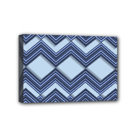 Textile Texture Fabric Zigzag Blue Mini Canvas 6  X 4  (stretched)
