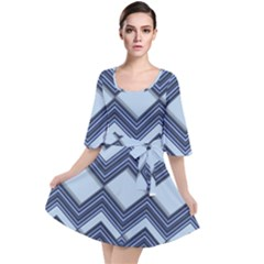 Textile Texture Fabric Zigzag Blue Velour Kimono Dress