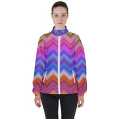 Pattern Chevron Zigzag Background High Neck Windbreaker (women)