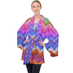 Pattern Chevron Zigzag Background Velvet Kimono Robe
