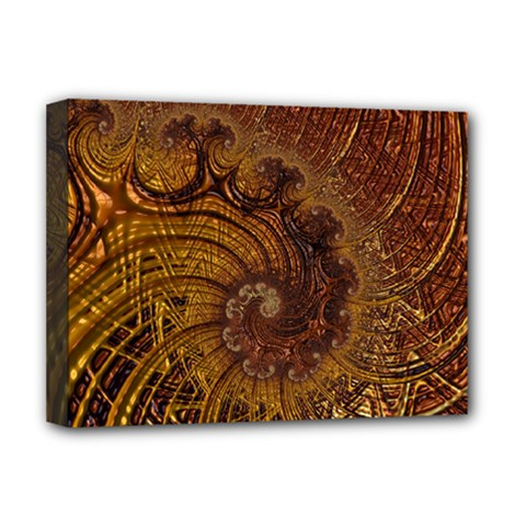 Copper Caramel Swirls Abstract Art Deluxe Canvas 16  X 12  (stretched)  by Pakrebo