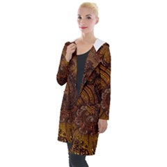 Copper Caramel Swirls Abstract Art Hooded Pocket Cardigan