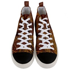 Copper Caramel Swirls Abstract Art Men s Mid Top Canvas Sneakers