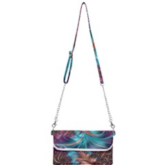 Feather Fractal Artistic Design Mini Crossbody Handbag