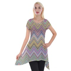Chevron Colorful Background Vintage Short Sleeve Side Drop Tunic
