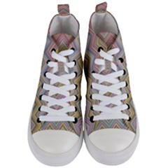 Chevron Colorful Background Vintage Women s Mid Top Canvas Sneakers