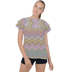 Chevron Colorful Background Vintage Ruffle Collar Chiffon Blouse