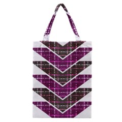 Fabric Tweed Purple Brown Pink Classic Tote Bag by Pakrebo