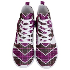 Fabric Tweed Purple Brown Pink Men s Lightweight High Top Sneakers by Pakrebo