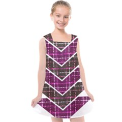 Fabric Tweed Purple Brown Pink Kids  Cross Back Dress