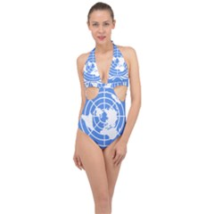 Square Flag Of United Nations Halter Front Plunge Swimsuit by abbeyz71