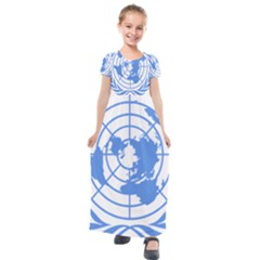 Blue Emblem Of United Nations Kids  Short Sleeve Maxi Dress by abbeyz71