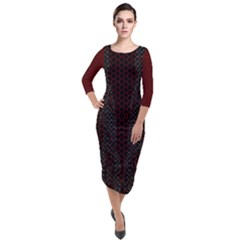 Ghost Gear   Scales Of Beauty    Quarter Sleeve Midi Velour Bodycon Dress by GhostGear