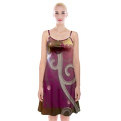 Purple Flower With Shine Spaghetti Strap Velvet Dress by DeneWestUK