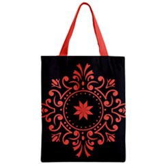 Floral Design Living Coral  And Black Zipper Classic Tote Bag