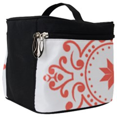 Floral Design In Living Coral And White Make Up Travel Bag (big) by TimelessFashion