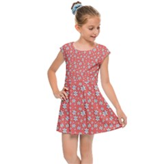 Atomic Effect In Living Coral Kids  Cap Sleeve Dress