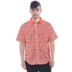 Atomic Effect In Living Coral Men s Short Sleeve Shirt