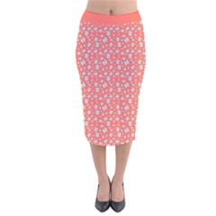 Atomic Effect In Living Coral Velvet Midi Pencil Skirt by TimelessFashion
